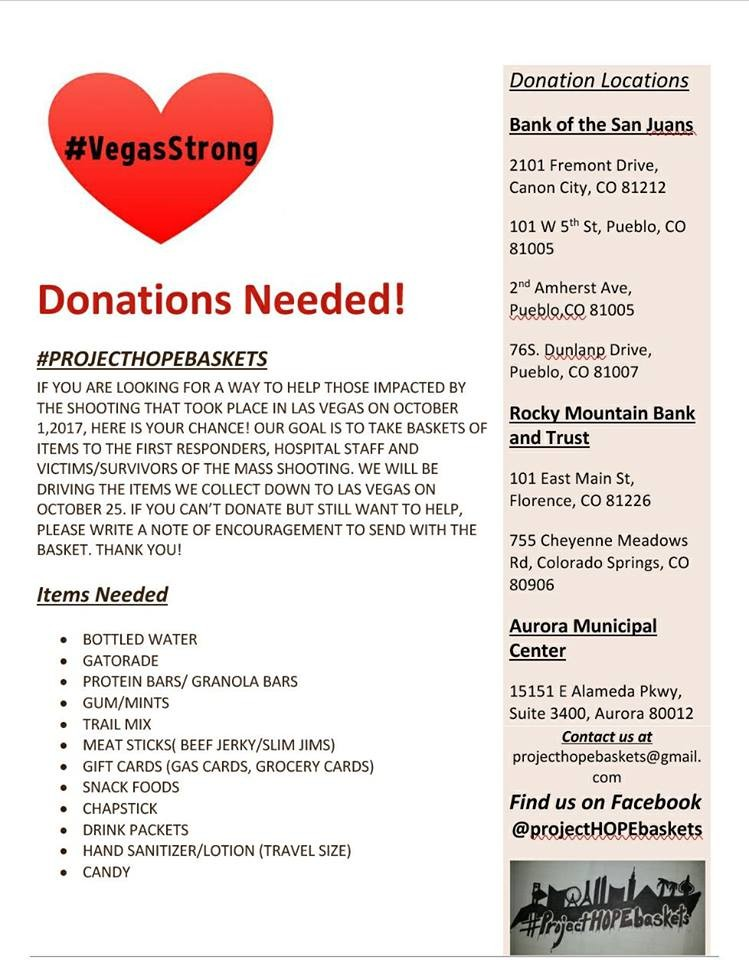 Items needed and Drop Off Locations