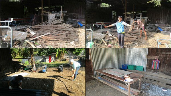 I was able to find a small space, kindly rented for a small rent by a friend welder, we cleared the ground together as best we could.