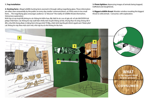 Wildlife threat facts and trap installation.