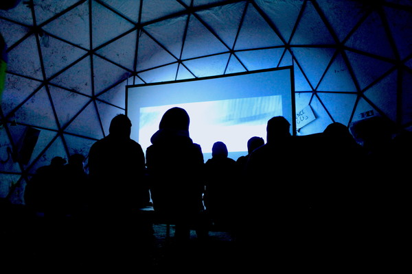Film screening in the camps