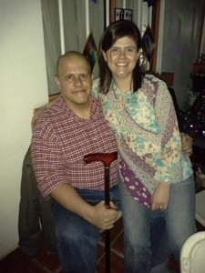 My wife & I during a party 1 month after last chemo.