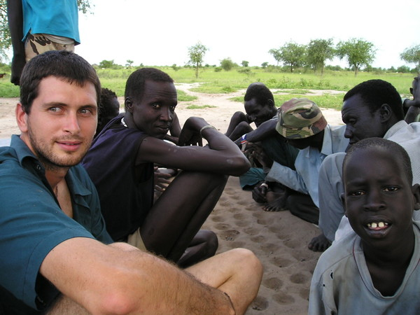 Steve hanging with kid in South Sudan