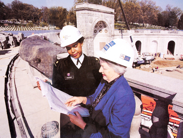 Annette Wells Freeman & Wilma Vaught review blueprints during construction of the Women's Memorial