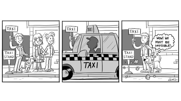 Typical taxi arrival sequence for a blind person